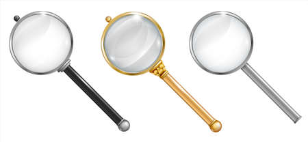 Set of magnifier for information search with a transparent magnifying glass and transparent shadow in vector graphics