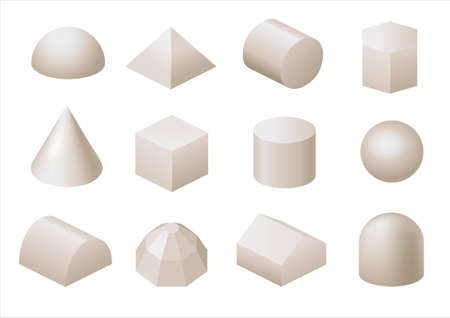 Set of different geometric shapes of gypsum. Vector graphics
