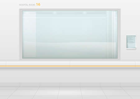Hospital room with window. The corridor of the clinic or hospital. Modern building. Vector with transparency effect
