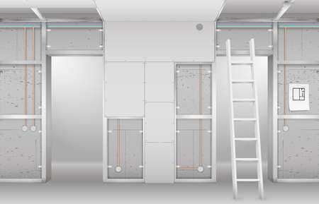 Interior under construction. Frame drywall, design and complete living room. Vector graphics