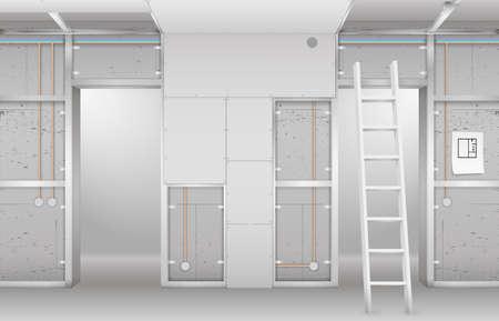 Wnętrze w budowie. Rama z płyt kartonowo-gipsowych, projekt i kompletny salon. Grafika wektorowa
