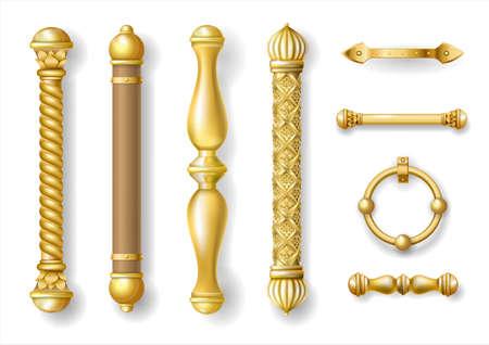 Set of classic gold door handles. Baroque style. Luxurious doors. Vector graphics. Transparent shadows. Jewelry work