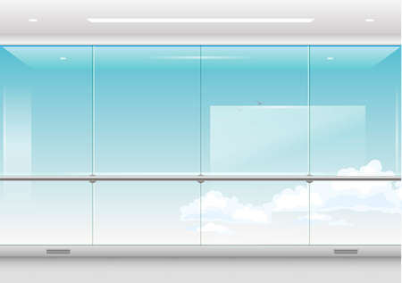 View from a skyscraper or waiting room of the airport, station. Modern windows and facades. Vector graphics with transparency Vettoriali