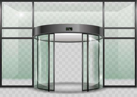 The semicircular double automatic doors to the shopping center or train station. Vector graphics with transparency effects