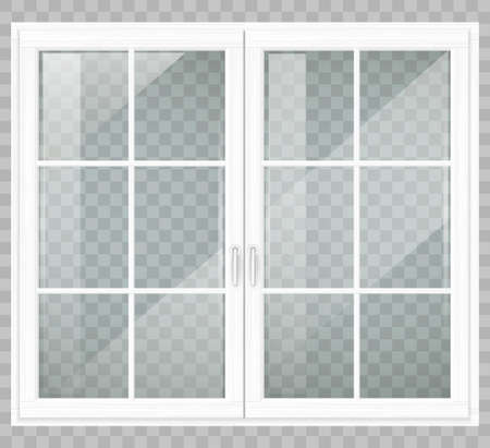 Classic wooden window or double doors to the terrace. Transparency. Vector graphics  イラスト・ベクター素材