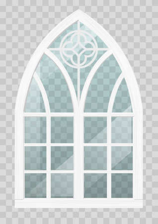 Classic Gothic window of wood in medieval style for the church or castle. Vector graphics Иллюстрация