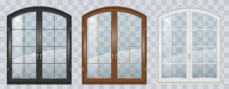 Classic arched window of wood in medieval style. Vector graphics