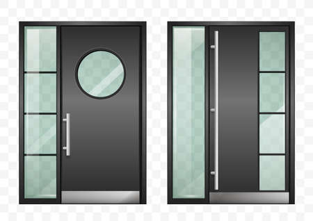 Conjunto de puertas de entrada modernas negras. Con cristal transparente tintado. Gráficos vectoriales Ilustración de vector