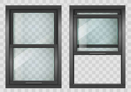 Wooden rectangular black lifting Sliding window with transparent glass. Vector graphics Standard-Bild - 104226993