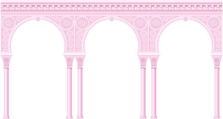 Pink palace arcade in an old oriental style. Facade of a classical building. Vector graphics
