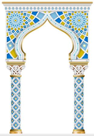 El arco oriental del mosaico. Arquitectura tallada y columnas clásicas. Estilo indio. Marco arquitectónico decorativo en gráficos vectoriales.