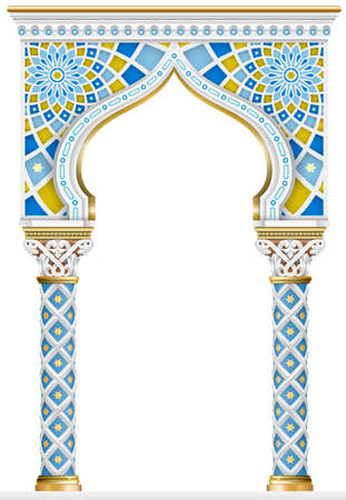 The Eastern arch of the mosaic. Carved architecture and classic columns. Indian style. Decorative architectural frame in vector graphics.