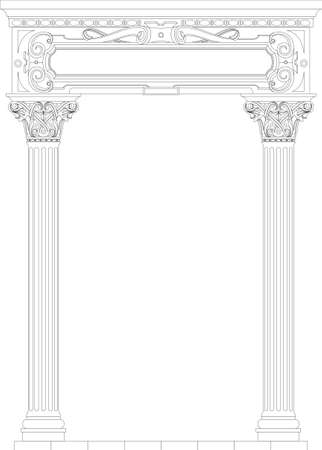 Contouring coloring of classical arch. Classic antique portal with columns in vector graphics Illustration