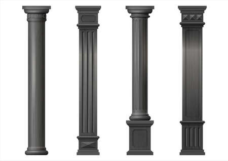 Set vintage classic wood carved architectural columns with ornament for interior or facade. Joinery elements or balusters. Vector graphics
