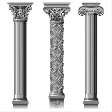 Set of classic silver columns in different styles. Vector graphics