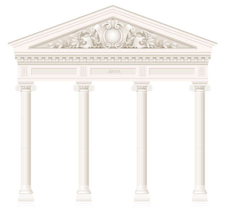 Antique white colonnade with Ionic columns. Three arched entrance or niche. Vector graphics Vettoriali