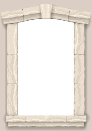 Bogen in der Wand aus beige geschnittenem Stein und Travertinmarmor für ein Fenster oder eine Tür im klassischen Stil Vektorgrafik