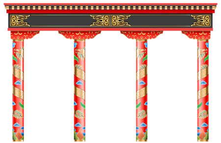 Der östliche rote chinesische Bogen. Geschnitzte Architektur und klassische Säulen. Chinesischer Stil. Dekorativer architektonischer Rahmen in Vektorgrafiken.