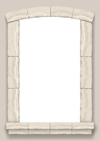 Bogen in der Wand aus beige geschnittenem Stein und Travertinmarmor für ein Fenster oder eine Tür im klassischen Stil