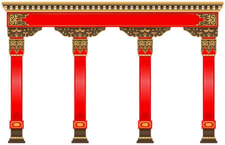 Der östliche rote chinesische Bogen. Geschnitzte Architektur und klassische Säulen. Chinesischer Stil. Dekorativer architektonischer Rahmen in Vektorgrafiken. Vektorgrafik