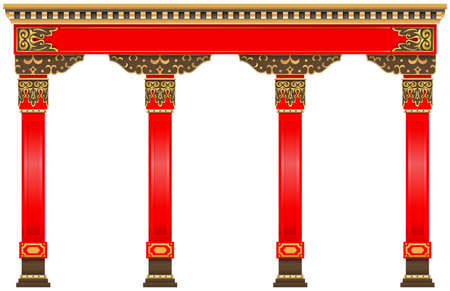 The Eastern red chinese arch. Carved architecture and classic columns. Chinese style. Decorative architectural frame in vector graphics. 版權商用圖片 - 106833930