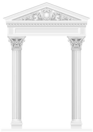 Colonnade blanche antique avec colonnes ioniques. Trois entrées ou niche cintrées. Graphiques vectoriels Vecteurs