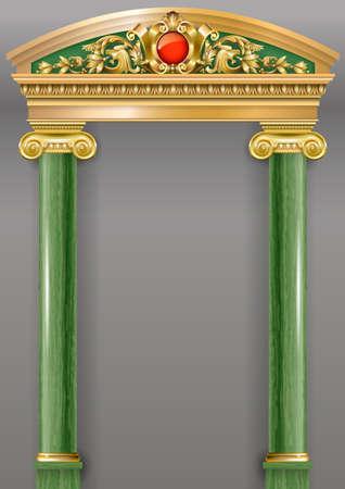 Arco classico di lusso dorato con colonne. Il portale in stile barocco. L'ingresso al Palazzo delle fate