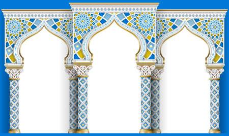 Der östliche Bogen des Mosaiks. Geschnitzte Architektur und klassische Säulen. Indischer Stil. Dekorativer architektonischer Rahmen in Vektorgrafiken. Vektorgrafik