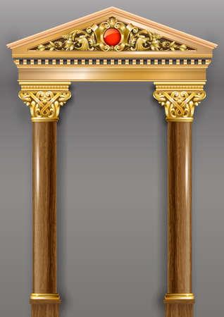 Arc classique de luxe doré avec colonnes. Le portail de style baroque. L'entrée du palais des fées