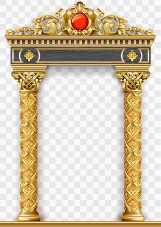Złoty luksusowy klasyczny łuk z kolumnami. Portal w stylu barokowym. Wejście do Pałacu Wróżek