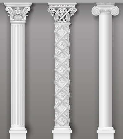 Colonnes blanches antiques classiques en graphiques vectoriels et dans différents styles Vecteurs