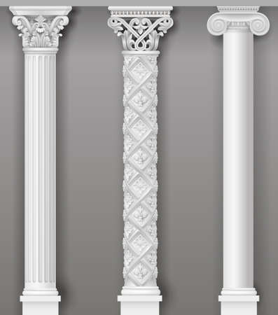 Klassische antike weiße Spalten in Vektorgrafiken und in verschiedenen Stilen Vektorgrafik