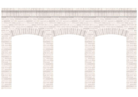 Vintage arcade of the masonry. Wall and facade of the old brick. Vector graphics Ilustração