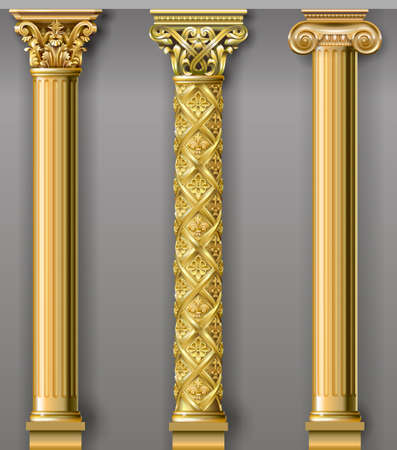 Ensemble de colonnes d'or classiques dans différents styles. Graphiques vectoriels Vecteurs