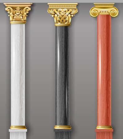 Conjunto de columnas clásicas de oro y mármol en diferentes estilos. Gráficos vectoriales