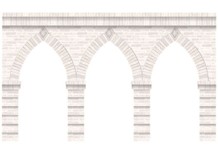 Vintage arcade of the masonry. Wall and facade of the old brick. Vector graphics Vettoriali