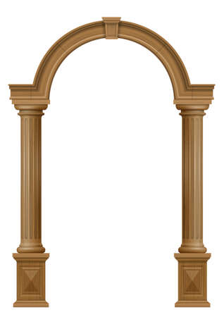 Wooden classic vintage arch of the portal door with the columns. Vector graphics. The entrance of the facade or the framing of the furniture. Illustration