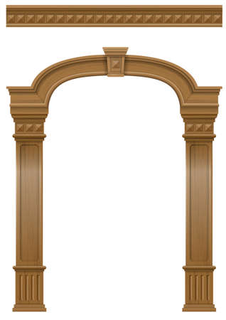 Wooden classic vintage arch of the portal door with the columns. Vector graphics. The entrance of the facade or the framing of the furniture. Archivio Fotografico - 107540424