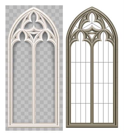 Realistisches gotisches mittelalterliches Lancet-Fenster und Steinbogen mit einem Schatten. Transparenter Schatten. Hintergrund oder Textur. Architektonisches Element
