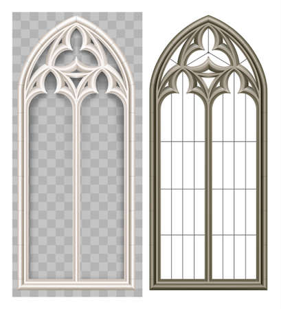 Ventana de lanceta medieval gótica realista y arco de piedra con una sombra. Sombra transparente. Fondo o textura. Elemento arquitectónico