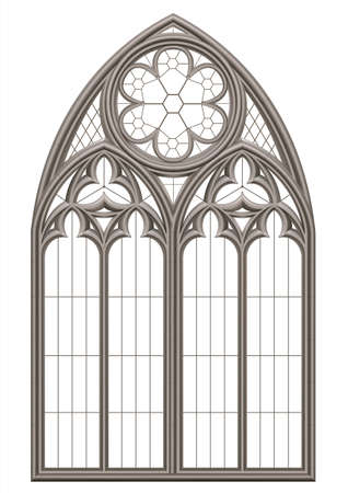 Realistic Gothic medieval stained glass window and stone arch with a shadow. Transparent shadow. Background or texture. Architectural element Ilustração