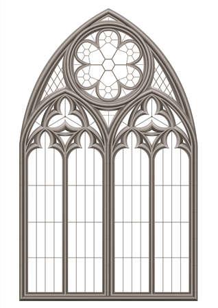 Realistisches gotisches mittelalterliches Buntglasfenster und Steinbogen mit einem Schatten. Transparenter Schatten. Hintergrund oder Textur. Architektonisches Element Vektorgrafik