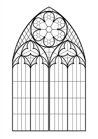 Realistic Gothic medieval contour window or gate arch. Background or texture. Architectural element. Forging 일러스트