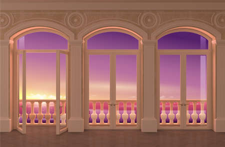 3d illustration. Interior of a classic room with arched windows and a view of the sea.
