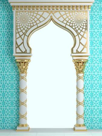 3D-Darstellung. Östlicher Bogen des Mosaiks. Geschnitzte Architektur und klassische Säulen. Indischer Stil. Dekorativer architektonischer Rahmen. Standard-Bild