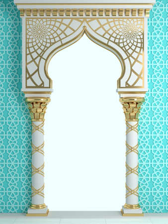 3d illustration. Eastern arch of the mosaic. Carved architecture and classic columns. Indian style. Decorative architectural frame . Archivio Fotografico