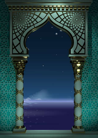 illustration 3D. Arc oriental de la mosaïque la nuit. Architecture sculptée et colonnes classiques. à l'indienne. Cadre architectural décoratif.