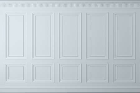 3d illustration. Classic wall of white wood panels. Joinery in the interior. Background. Stock Photo