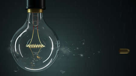 3d illustration. Bullet punches a light bulb close-up. Background greeting card, screen saver Stock Photo