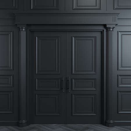 illustration 3D. Portes noires classiques fermées avec des sculptures. Design d'intérieur. Contexte